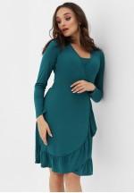 Платье на запах с воланом изумрудное для беременных и кормящих..