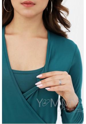 Платье на запах с воланом изумрудное для беременных и кормящих