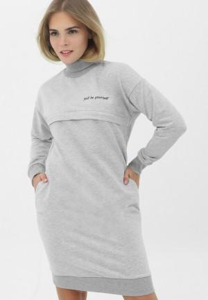 Платье серый меланж с принтом для беременных и кормящих (382)