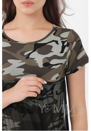 Платье милитари с сеткой для беременных и кормящих