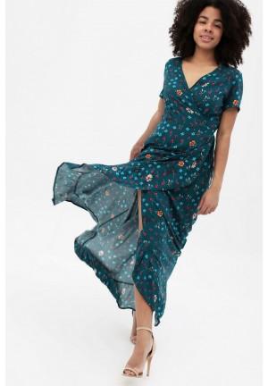 Платье в пол темно-бирюзовое с цветочным принтом для беременных и кормящих