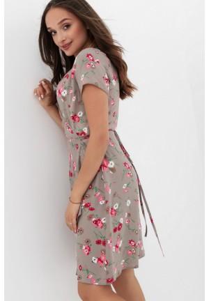 Платье бежевое в цветочек на запах для беременных и кормящих