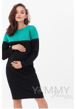 Платье колор-блок черное с зеленым для беременных и кормящих..