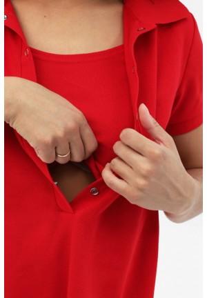 Платье-поло красное для беременных и кормящих